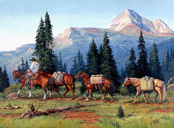 Cowboy Poster featuring the painting Colorado Outfitter by Randy Follis