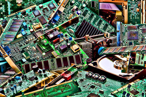 Computer Poster featuring the photograph Computer Parts by Olivier Le Queinec