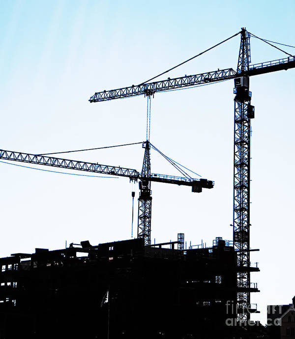 Construction Poster featuring the photograph Construction Cranes by Antony McAulay