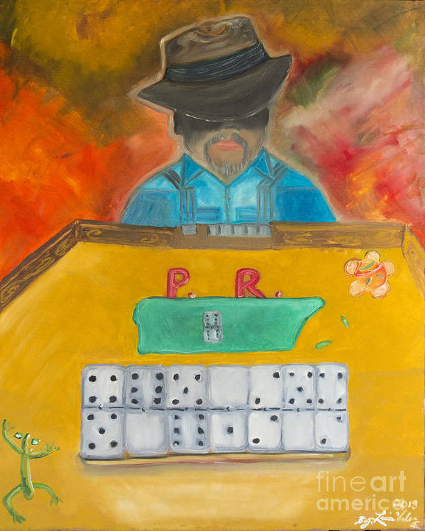 Dominoes Poster featuring the painting Contra Mi by Luis Velez