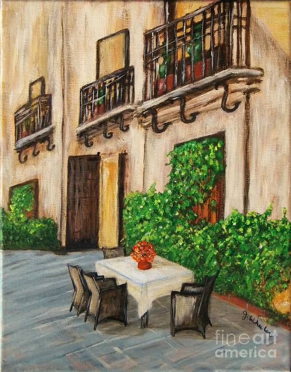 Courtyard Poster featuring the painting Courtyard Seating by JoAnn Wheeler