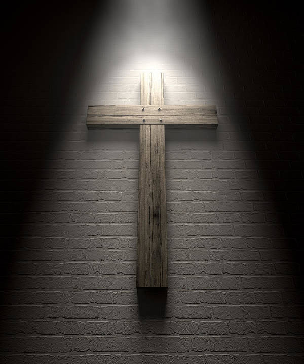Crucifixion Poster featuring the digital art Crucifix On A Wall Under Spotlight by Allan Swart