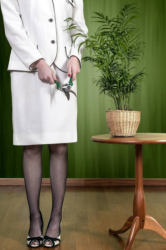 Woman Poster featuring the photograph Cutting Plant by Joana Kruse