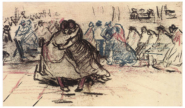Vincent Van Gogh Poster featuring the drawing Dance Hall With Dancing Women by Vincent Van Gogh