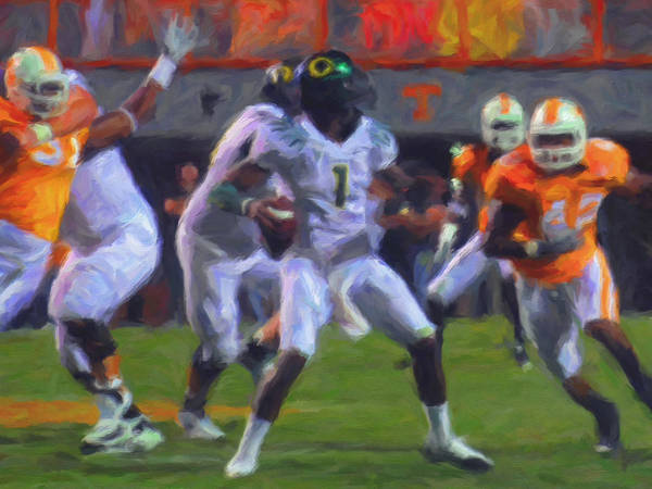 Oregan Ducks Poster featuring the painting Darron Thomas by Michael Pickett