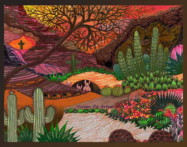 Desert Art Poster featuring the drawing Desert Evening by Vivian Rayford