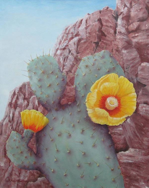 Landscape Poster featuring the painting Desert Rose by Roseann Gilmore