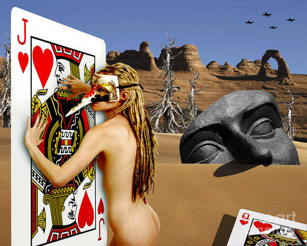Landscape Poster featuring the digital art Desire And The Jack Of Hearts by Keith Dillon