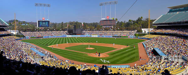 Dodgers Poster featuring the photograph Dodger Stadium Panorama by Eddie Yerkish