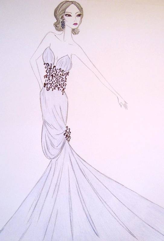 Haute Couture Poster featuring the drawing Dove Blue Gown by Christine Corretti