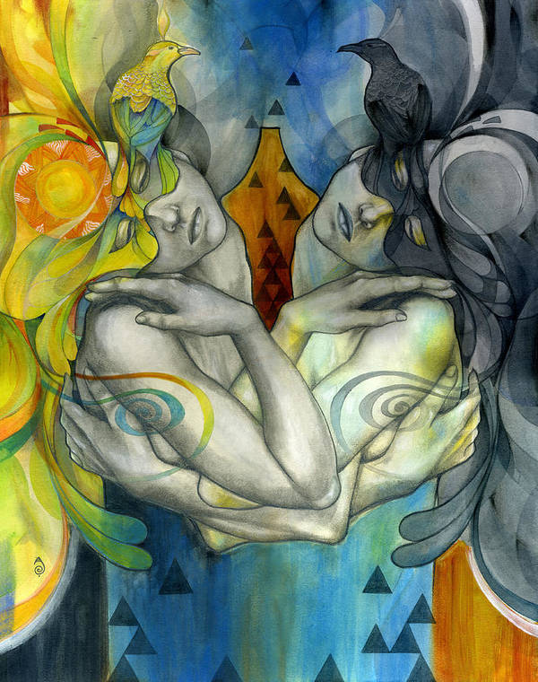 Duality Poster featuring the painting Duality by Patricia Ariel