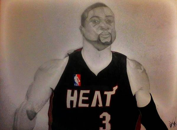 D.wade Poster featuring the drawing D.wade by Michael Hugue