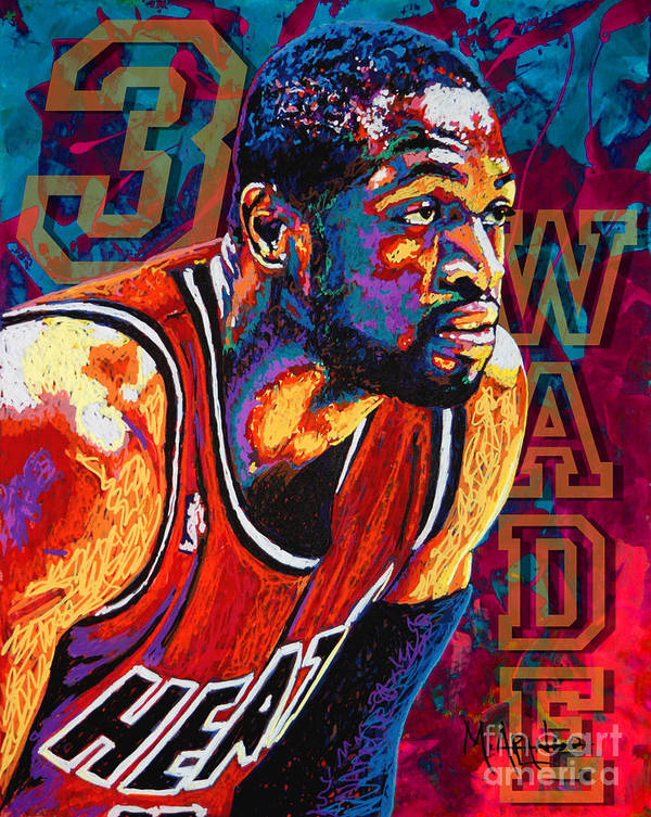 Dwyane Wade Poster featuring the painting Dwyane Wade 3 by Maria Arango