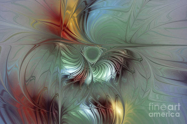 Abstract Poster featuring the digital art Enchanting Flower Bloom-abstract Fractal Art by Karin Kuhlmann
