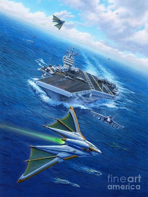 Atlantis Poster featuring the painting Encountering Atlantis by Stu Shepherd