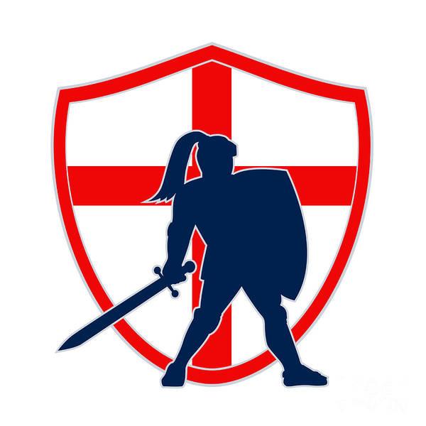 Knight Poster featuring the digital art English Knight Silhouette England Flag Retro by Aloysius Patrimonio