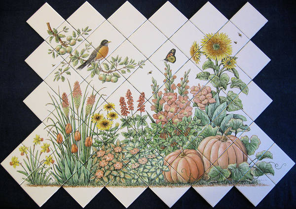 Tile Mural Poster featuring the painting Espinosa's Flower Garden Tile Mural by Julia Sweda