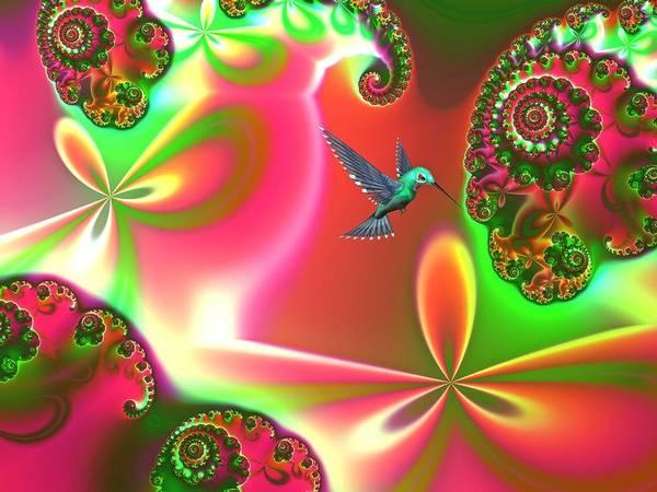 Hummingbirds Poster featuring the digital art Fantasia Landscape by Sharon Lisa Clarke