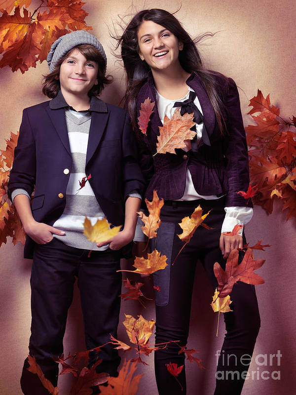 Children Poster featuring the photograph Fashionably Dressed Boy And Teenage Girl Fall Fashion by Oleksiy Maksymenko