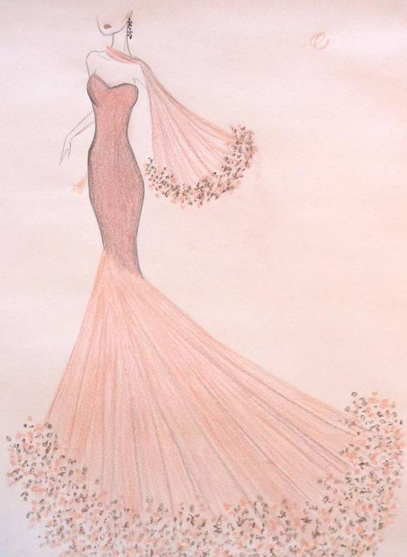 Haute Couture Poster featuring the drawing Feathers And Frills by Christine Corretti