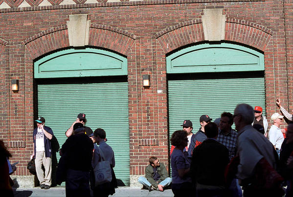 America Poster featuring the photograph Fenway Park - Fans And Locked Gate by Frank Romeo
