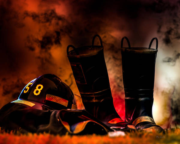 Courage Poster featuring the photograph Firefighter by Bob Orsillo