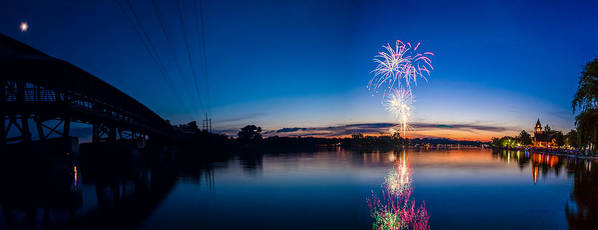 Fox River Poster featuring the photograph Fireworks Over The Fox by Lorraine Mahoney