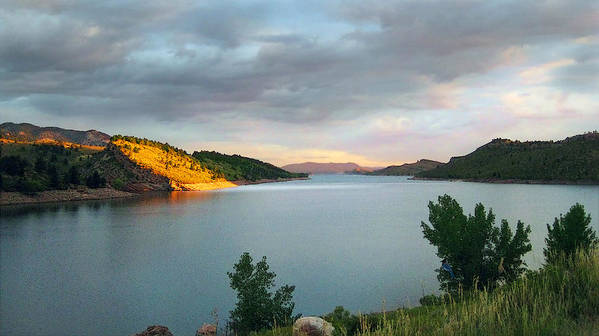 Horsetooth Reservoir Poster featuring the photograph First Light by Ric Soulen