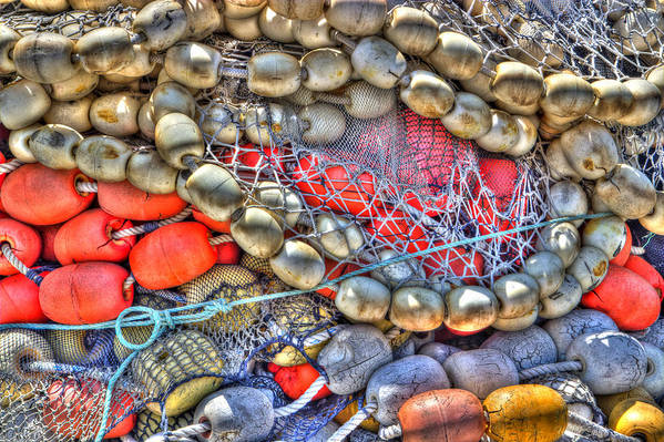 Abstract Poster featuring the photograph Fishing Bouys by Heidi Smith