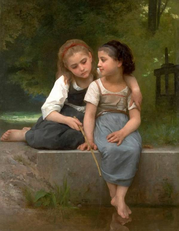 Fishing For Frogs Poster featuring the digital art Fishing For Frogs Watercolor Version by William Bouguereau