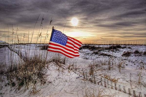 Alabama Poster featuring the digital art Flag On The Beach by Michael Thomas