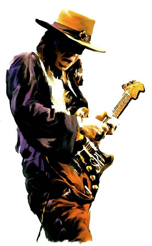 Stevie Ray Vaughan Collectibles Poster featuring the painting Flash Point   Stevie Ray Vaughan by Iconic Images Art Gallery David Pucciarelli