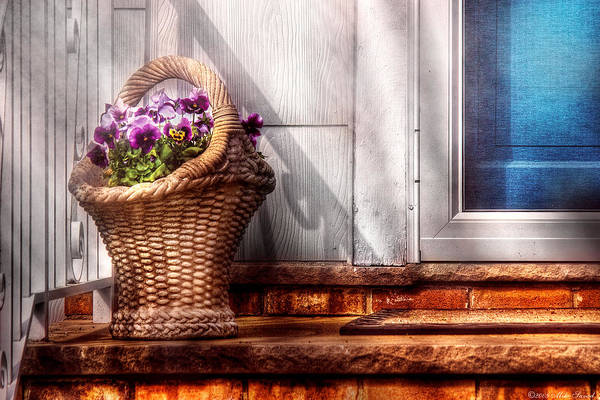 Savad Poster featuring the photograph Flower - Pansy - Basket Of Flowers by Mike Savad