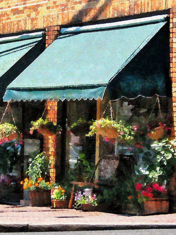 Flower Poster featuring the photograph Flower Shop With Green Awnings by Susan Savad