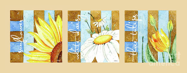 Flowers Poster featuring the painting Flowers And Stripes by Annie Troe