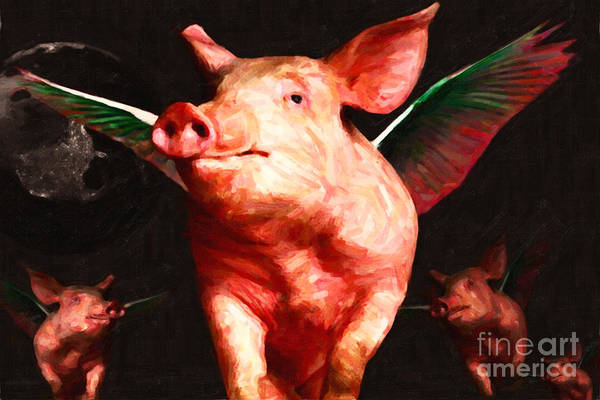 Animal Poster featuring the photograph Flying Pigs V2 by Wingsdomain Art and Photography