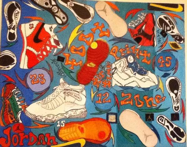 Michael Poster featuring the painting Foot Print Zone by Mj Museum