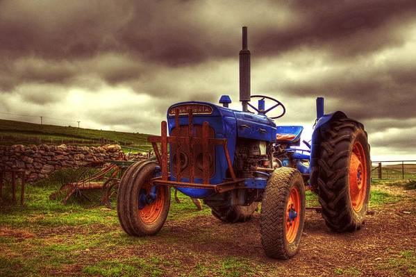 Tractor Poster featuring the photograph Fordson Super Dexta Tractor On Shetland Croft by Anne Macdonald