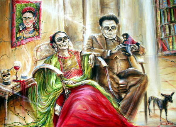 Day Of The Dead Poster featuring the painting Frida And Diego With Pet Monkey by Heather Calderon