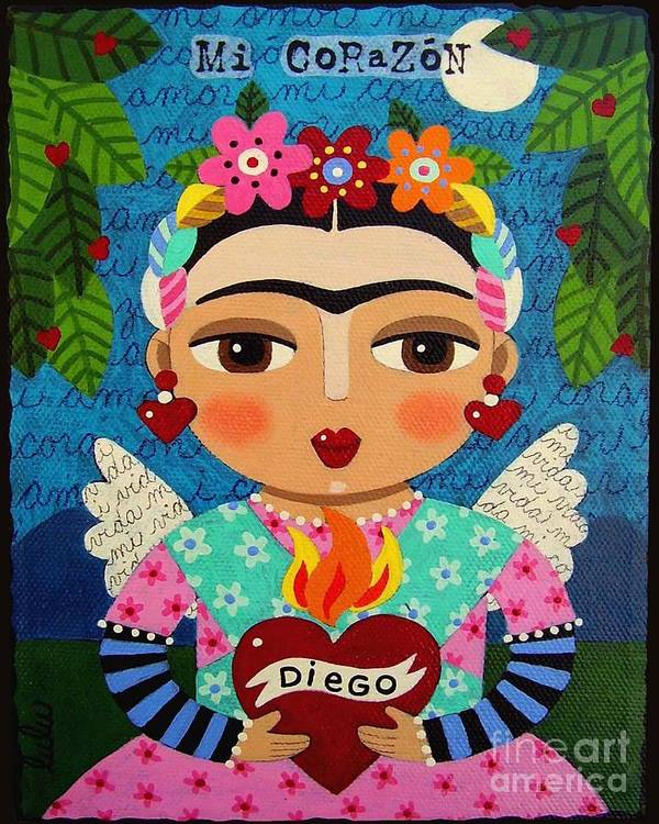 Frida Poster featuring the painting Frida Kahlo Angel And Flaming Heart by LuLu Mypinkturtle