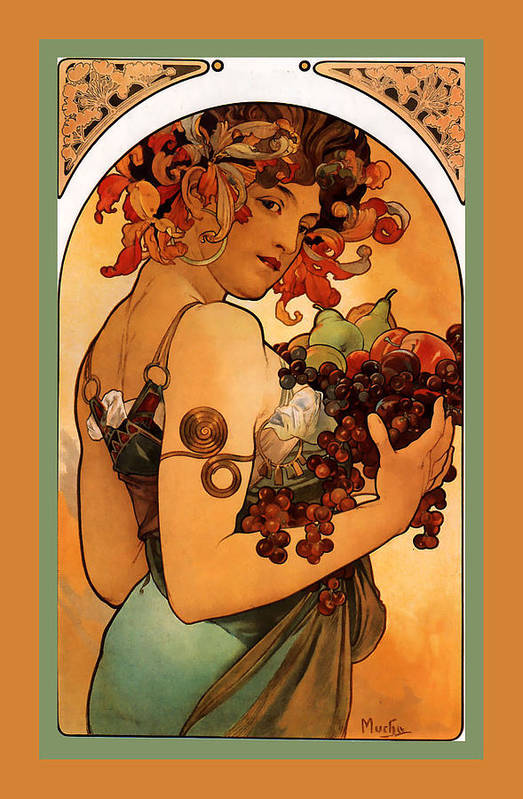 Fruit Poster featuring the digital art Fruit by Alphonse Maria Mucha