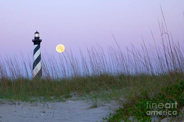 Digital Photography Poster featuring the photograph Full Moon At Hatteras by Laurinda Bowling