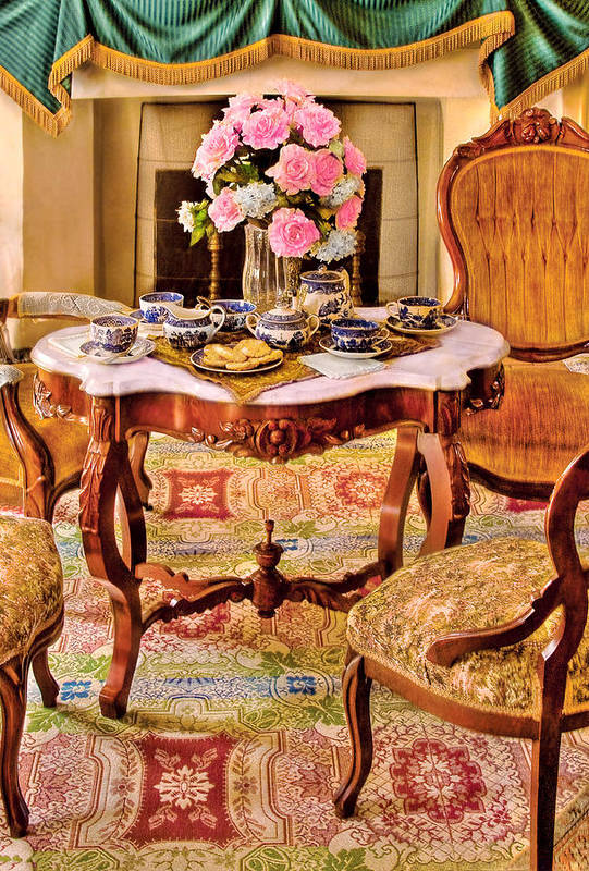 Savad Poster featuring the photograph Furniture - Chair - The Tea Party by Mike Savad