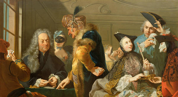 Male Poster featuring the painting Gamblers In The Foyer by Johann Heinrich Tischbein