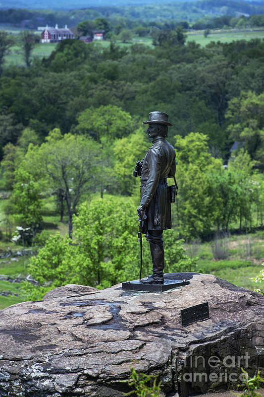 Adams County Poster featuring the photograph General Kemble Warren At Little Round Top by John Greim