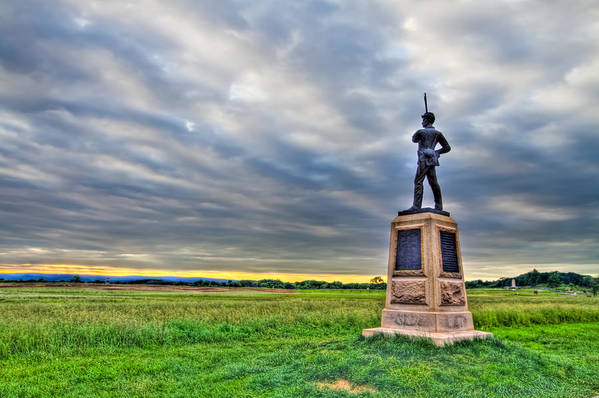 Adams Poster featuring the photograph Gettysburg Battlefield Soldier Never Rests by Andres Leon