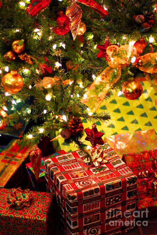 Christmas Poster featuring the photograph Gifts Under Christmas Tree by Elena Elisseeva