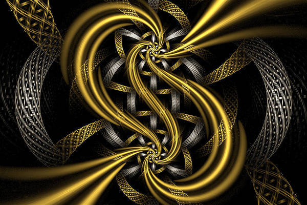 Fractal Poster featuring the digital art Gold And Silver by Sandy Keeton