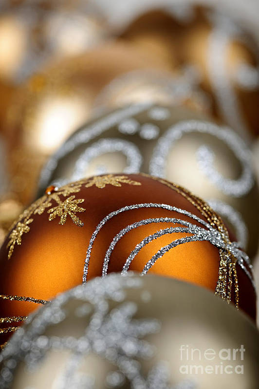 Christmas Poster featuring the photograph Gold Christmas Ornaments by Elena Elisseeva