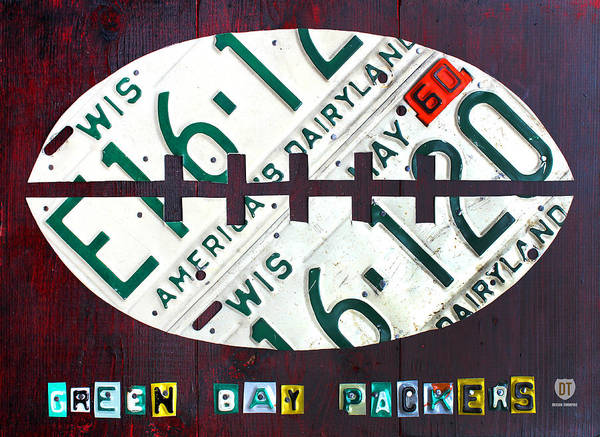 Green Bay Packers Football License Plate Art Nfl Sports Wisconsin Milwaukee Madison License Plate Map Poster featuring the mixed media Green Bay Packers Football License Plate Art by Design Turnpike
